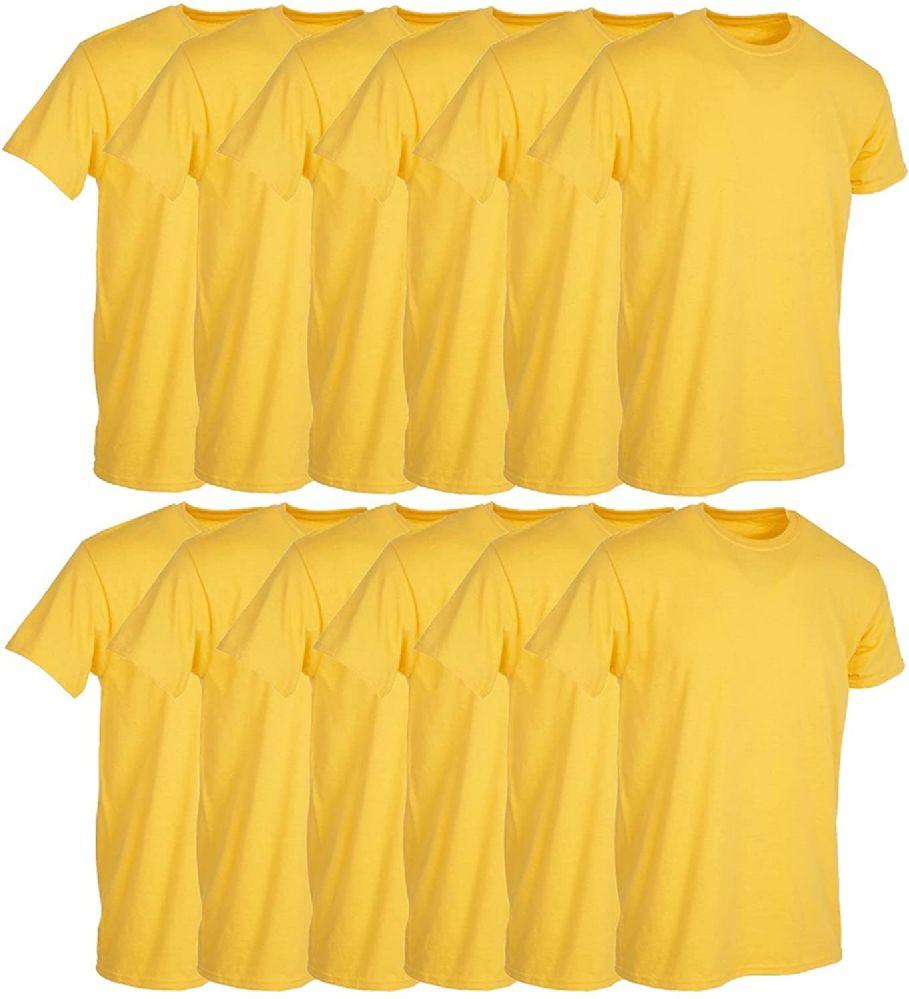 12 Bulk Mens Yellow Cotton Crew Neck T Shirt Size Large