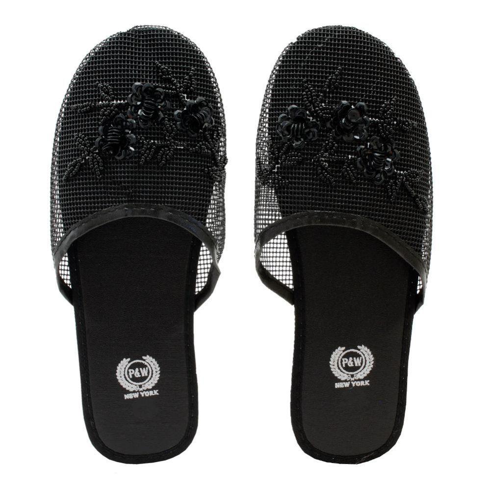96 Bulk Women's Chinese Mesh Slippers Black