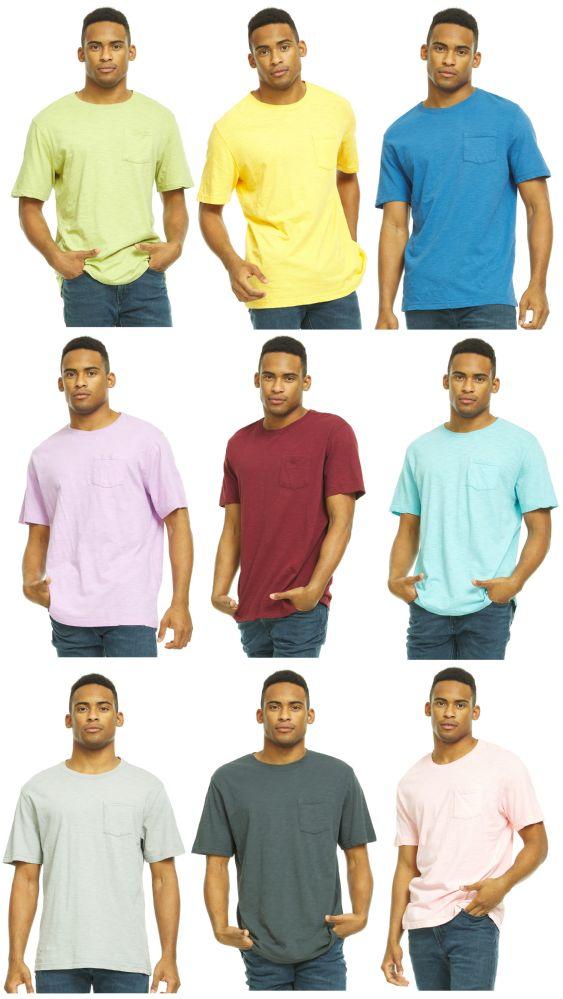 27 Bulk Yacht & Smith Mens Assorted Color Slub T Shirt With Pocket - Size XL