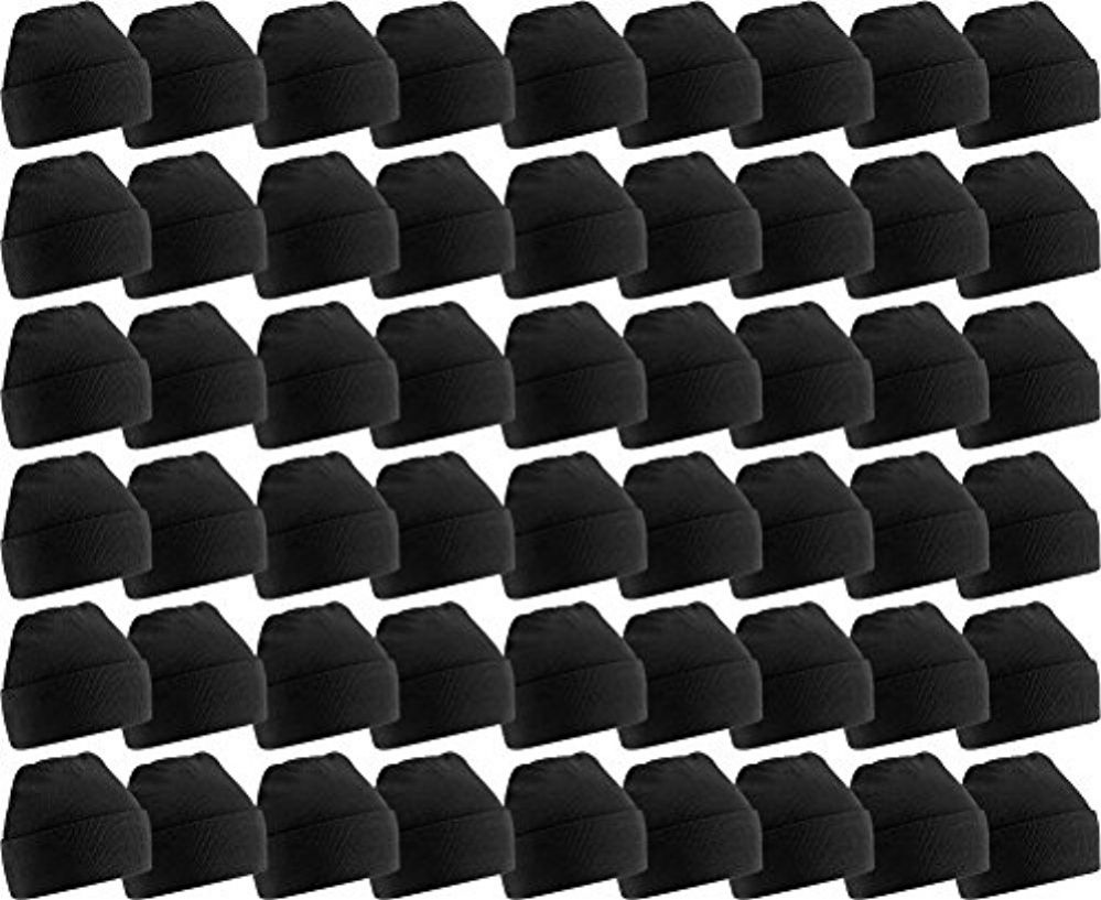180 Bulk Yacht & Smith Unisex Winter Warm Beanie Hats In Solid Black