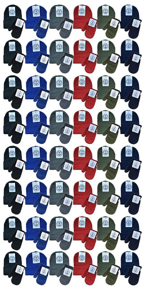 144 Bulk Yacht & Smith Wholesale Kids Beanie And Glove Sets (beanie Mitten Set, 144 Pieces)