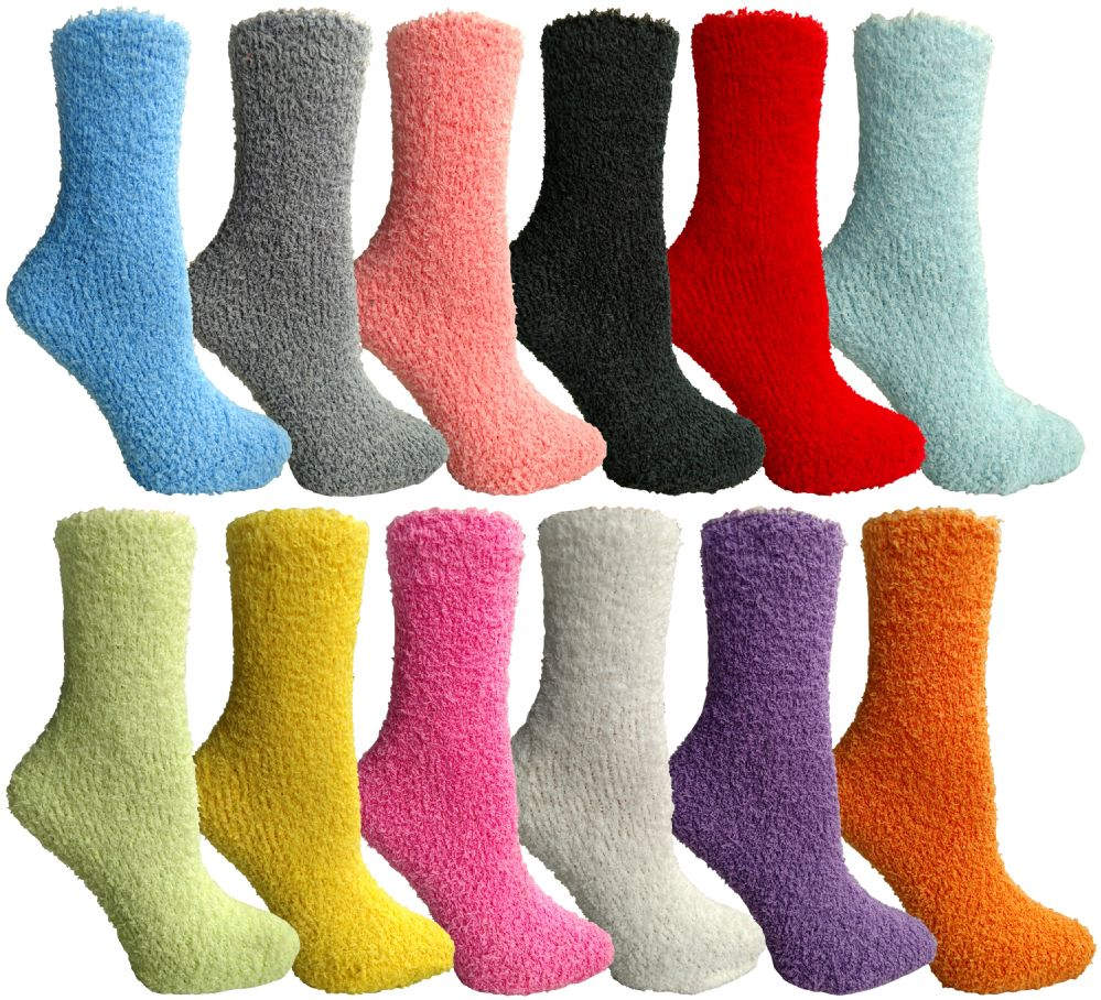 24 Bulk Yacht & Smith Women's Solid Color Gripper Fuzzy Socks Assorted Colors, Size 9-11