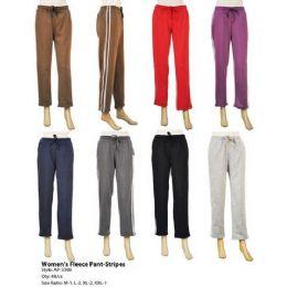 48 Bulk Womens Fleece Pants With Stripes