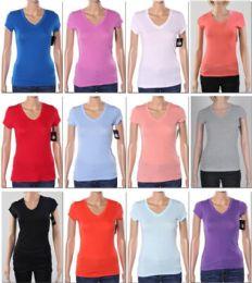 144 Bulk Women's V Neck T-Shirt