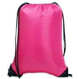 60 Bulk Value Drawstring BackpacK-Hot Pink
