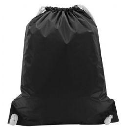 48 Bulk White Drawstring BackpacK-Black