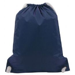 48 Bulk White Drawstring BackpacK-Navy