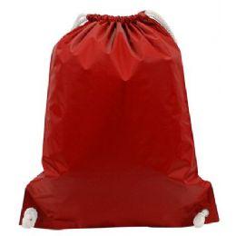 48 Bulk White Drawstring BackpacK-Red