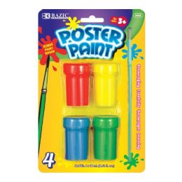 144 Bulk Bazic 4 Color Poster Paint With Brush