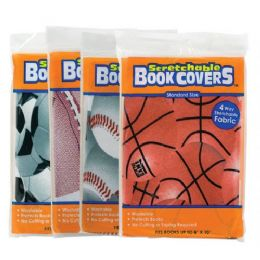 """48 Bulk Assorted Sports 8"""" X 10"""" Stretchable Fabric Book Covers"""