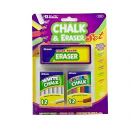 144 Bulk Bazic 12 Color & 12 White Chalk W/ Eraser Sets