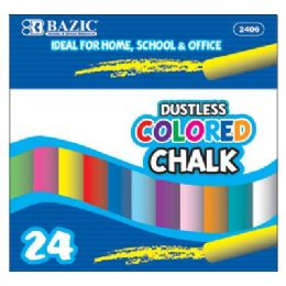 72 Bulk Bazic Dustless Assorted Color Chalk (24/box)