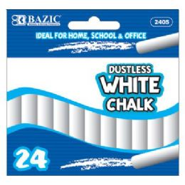 72 Bulk Bazic Dustless White Chalk (24/box)