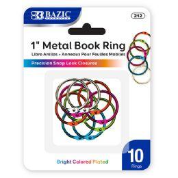 """144 Bulk Bazic 1"""" Assorted Color Metal Book Rings (10/pack)"""