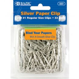 72 Bulk Bazic No.1 Regular (33mm) Silver Paper Clips (200/pack)