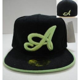"""24 Bulk Fitted HaT-Black With Green """"a"""""""