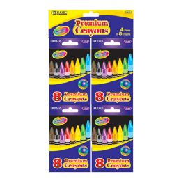72 Bulk Bazic 8 Color Crayon (4/pack)