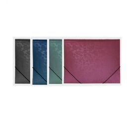 144 Bulk Bazic Floral Embossed Letter Size Document Holder With Elastic Band