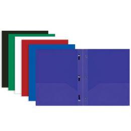 48 Bulk Bazic Solid Color 2-Pockets Poly Portfolio W/ 3 Prongs