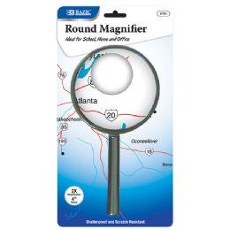 """72 Bulk Bazic 4"""" Round 2x Handheld Magnifier"""