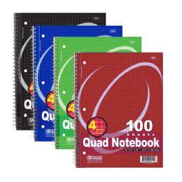 "48 Bulk Bazic 100 Ct. QuaD-Ruled 4-1"" Spiral Notebook"