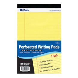 "24 Bulk Bazic 50 Ct. 5"" X 8"" Canary Jr. Perforated Writing Pad (3/pack)"
