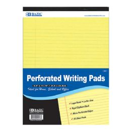 "48 Bulk Bazic 50 Ct. 8.5"" X 11.75"" Canary Perforated Writing Pad"