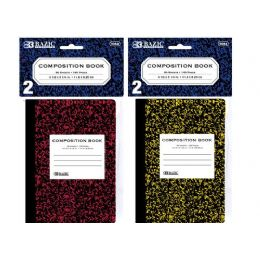 "72 Bulk Bazic 80 Ct. 4.5"" X 3.25"" Mini Marble Composition Book (2/pack)"