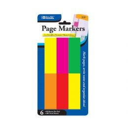 """144 Bulk Bazic 80 Ct. 1"""" X 3"""" Neon Page Markers (6/pack)"""