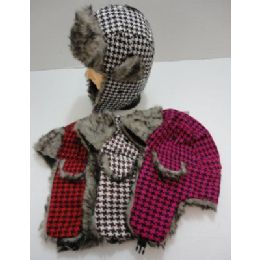 144 Bulk Bomber Hat With Fur LininG--Houndstooth