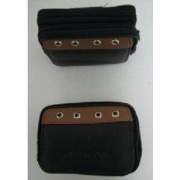 24 Bulk 3 Compartment Black/brown Accent Camera/phone Case