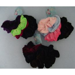 48 Bulk 6pcs Velvet Pony Tail Holders