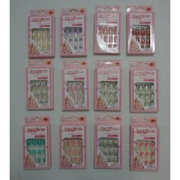 144 Bulk Decorated Artificial Nails With Rhinestones [office Girls]