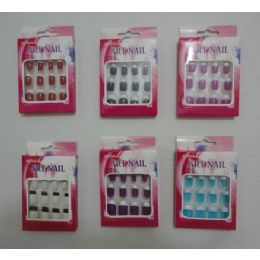144 Bulk Colored Artificial Nails With French Tips