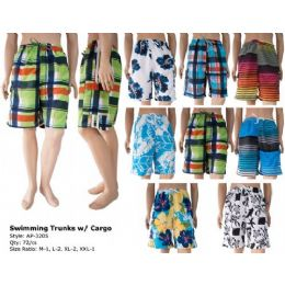 72 Bulk Mens Cargo Swim Trunks