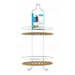6 Bulk Deluxe Bamboo And Chrome Shower Caddy