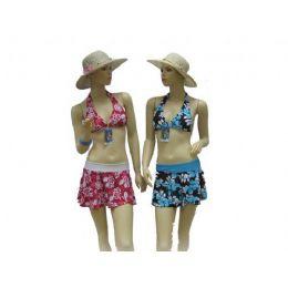 72 Bulk 3pcs Swimsuit Set Bathing Suit