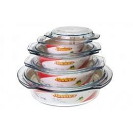 6 Bulk Marinex Round Glass Tureen W/ Lid - 1.9 Qt.