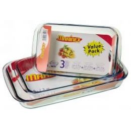 4 Bulk Marinex 3pc -1.7 Qt,2.3 Qt,3 Qt Rectangular Baker
