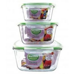 6 Bulk Marinex 1 L /1.05 Qt Square Glass Container W/locking Lid