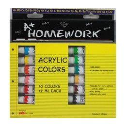 24 Bulk Acrylic PaintS- Asst. ColorS- 18 Pack - 12 Ml Each Tbe