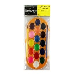 48 Bulk Water Color Paint SeT- 16 Colors+2 Brushes