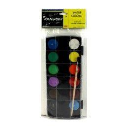 48 Bulk Water Color Paint SeT- 12 Colors+brush
