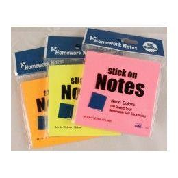 "48 Bulk Stick On Notes 3""x 3"" 100 SheeT- Neon Colors"