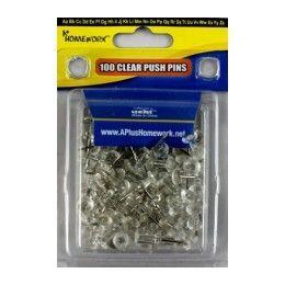 96 Bulk Push Pins - Clear - 100 Count - Clamshel Package.