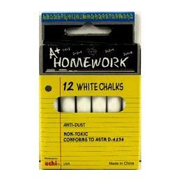 "96 Bulk Chalk - White - 12pk - 3"" Sticks - Boxed"