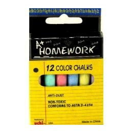 "48 Bulk Chalk - Asst. Colors - 12pk - 3"" Sticks - Boxed"