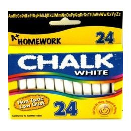 "96 Bulk Chalk - White - 24 Pk - 3"" Sticks - Boxed"