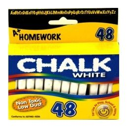 "96 Bulk Chalk - White - 48 Pk - 3"" Sticks - Boxed"