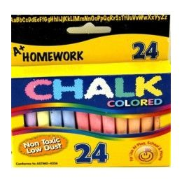 "96 Bulk Chalk - Asst. Colors - 24 Pk - 3"" Sticks - Boxed"